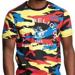 True Religion Men's Contrast Crew Camo Tee T-Shirt
